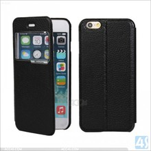 window view case for iphone 6 4.7inch, real litchi genuine leather back cover for apple iphone 6