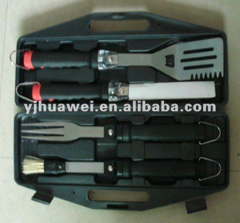 4pcs BBQ Tool Set with Lights (lamps) in Plastic Tool Box #F133