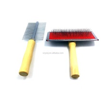 Wood Pet Grooming Tool Wooden Handle Pet Dog Self Cleaning Slicker Brush