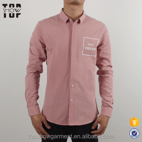 Dongguan clothing manufacturers latest shirts for men pictures casual pink shirt slim fit man
