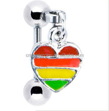 eyebrow with rainbow color stainless steel fashion body piercing jewelry