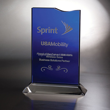 Wholesale Blue Glass Plaque Trophy