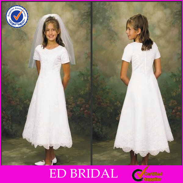 2014 Discount Simple White A-line Lace Flower Girl Wedding Dresses