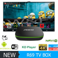 2017 New Arrivals R69 Allwinner H2 1gb Ram 8gb Rom 4K High Quality Install Google Play Store Android 4.4 Kodi Tv Box With Remote