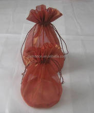 Red Organza Wine Bottle Wrapping Bag, Customized Colors are Accepted, 6/8cm Tassel Length