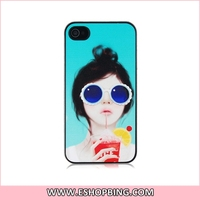 SLIDER Cartoon Girl with Sunglasses Design PC Protective Case for iphone 4S
