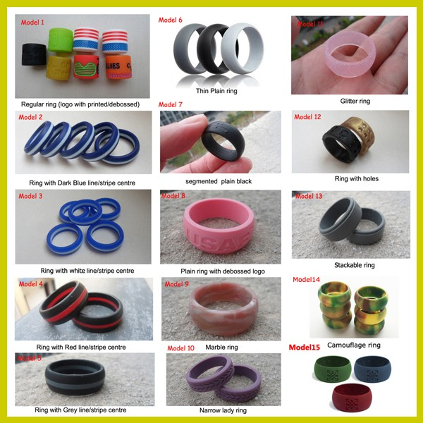 Designed for comfort, fitness, exercise, weight lifting/training, running, rubber ring, safe silicon wedding band