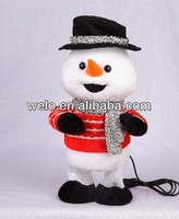 Electronic swing body stuffed animal plush toy, christmas Snowman with MP3 player function