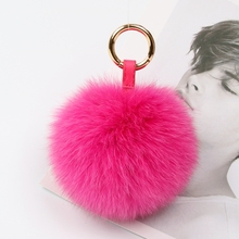 wholesale handcraft pink big fuzzy ball furry fox fur pompom ball keychain