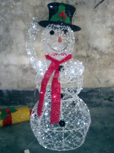 Metal wire LED lighted Christmas Snowman