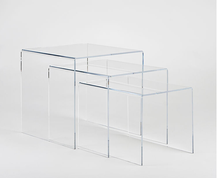 Luxury modern clear wholesale acrylic nest of tables