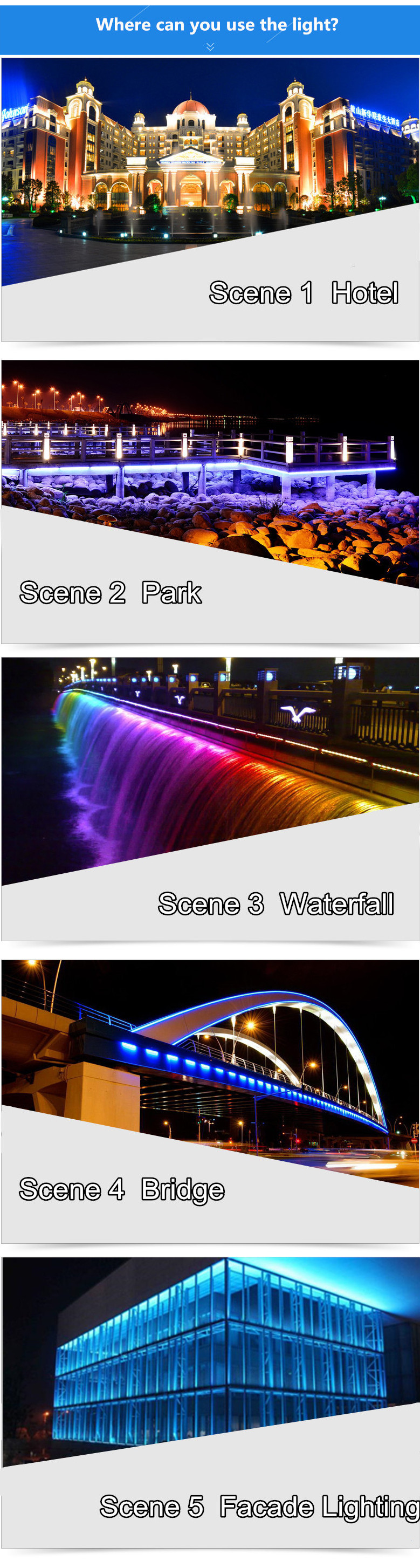 DMX Control Outdoor Lighting Project waterproof IP65  RGB LED Wall Washer