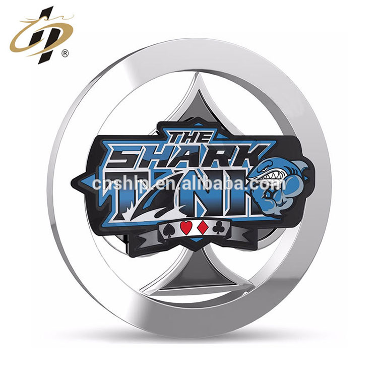 Free design shiny silver custom metal coin poker chips with epoxy