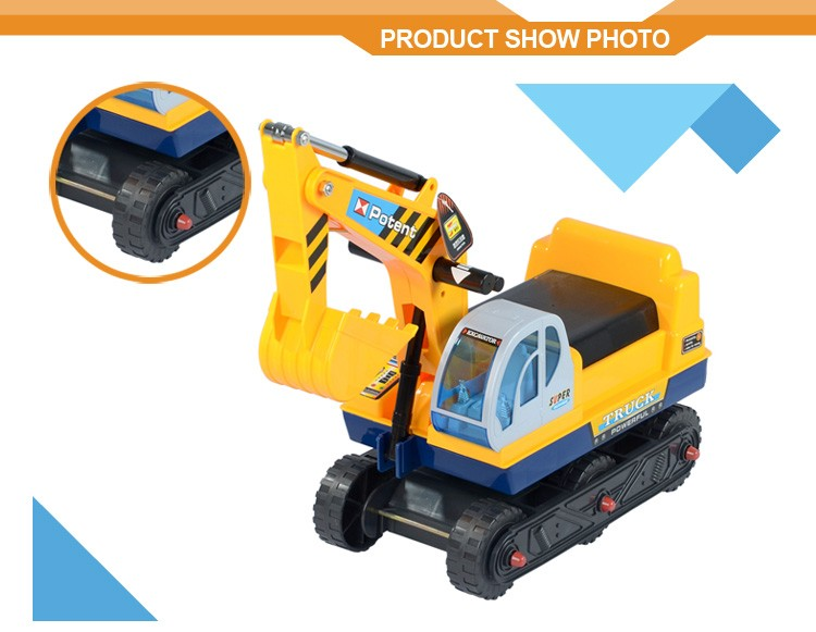 Pretend Play Construction Truck Toy Excavator Digger Scooter Pulling Cart Kids Ride on Car