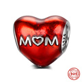 Red Enamel MOM Stamped 100% Genuine 925 Sterling Silver Charm Beads For DIY European Bracelet Necklace Jewelry DSP030
