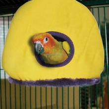 Happy Hut Hammock Hanging Cave Cage Plush Snuggle Tent Bed Bird Parrot Toy