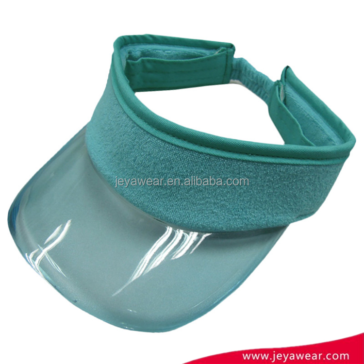 Fashion new blue blank sun PVC viosr cap hat plastic sun visor cap for custom