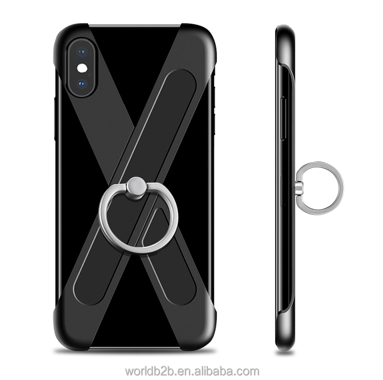 Bumper Frame Case With Ring Kickstand 360 Degree Rotating Finger Ring Holder Grip Case for iPhone X
