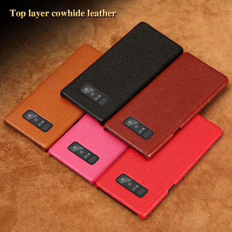 Factory Wholesale Real Genuine Litchi pattern Cover Back Leather Phone Case for samsung galaxy note 8 Back case
