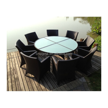 2017 Sigma SGS trade assurance all weather resin wicker luxury glass modern italian dining room furniture