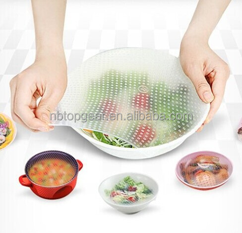 Silicone food stretch wrap / Silicone BPA free Stretch lid / Clear silicone stretch fresh cover for fruit bowl