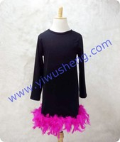 Fancy girl dress children long sleeve clothing of diverse styles,Plain Long Sleeve T Shirt Raglan Sleeve with ostrich feather