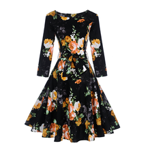 2017 New Style Autumn Long Sleeve Night Clothes Print Floral Dress Woman