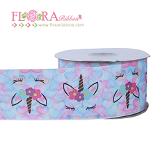 New arrival 2 inch cartoon character grosgrain ribbons with unicorn printing