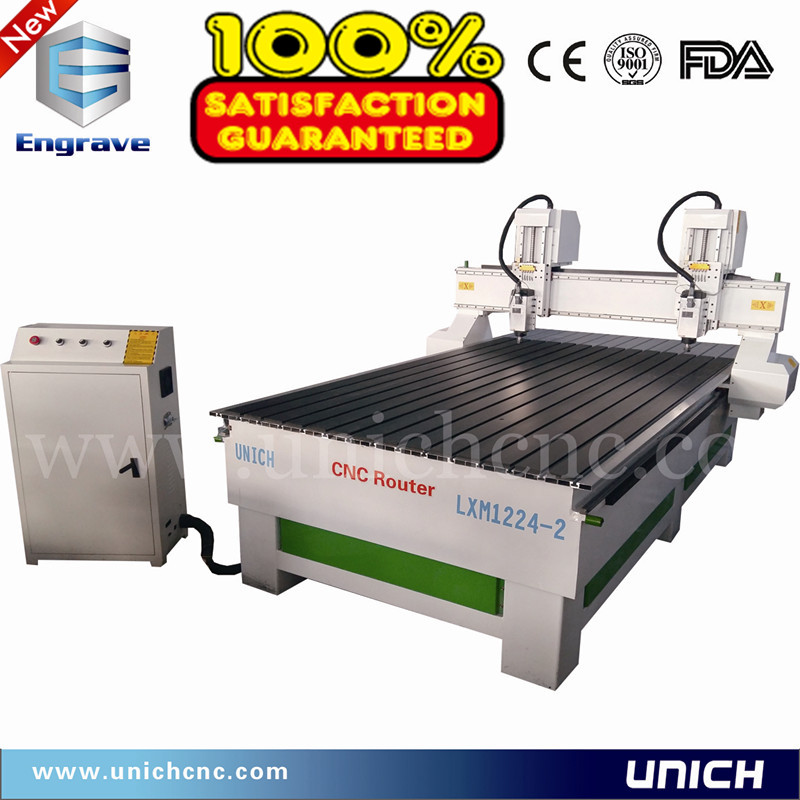 UNICH CE standard two heads air cooling spindle cnc router LXM1224-2/cnc wood lathe machine price