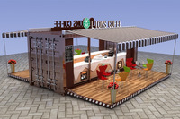 Unique 3d max design container coffee shop | container coffee shop design