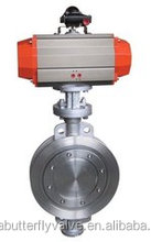 Pneumatic actuator wafer type triple eccentric butterfly valve