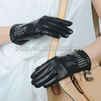ladies pigskin dress gloves with studs ornament