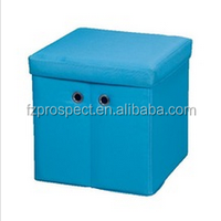 polyester colorful bathroom storage ottoman blue