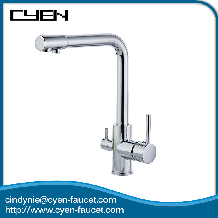 Dual Handle Double Spouts Three Way Kitchen Sink Health Faucet Sprayer