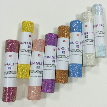 Decorative Use and Knitted Backing Technics rainbow grade 3 chunky glitter fabric