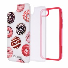 Red Frame Donuts Shock Absorbing Hard Back Plate TPU Bumper Mobile Phone Case Cover For iPhone 8
