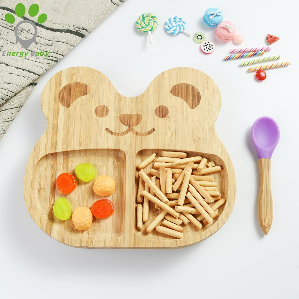 Baby Tableware <strong>Natural</strong> Bamboo 3 Divided Fox Kids Snack Food Plate Dish Set with Silicone Suction for Kid Toddler Dinner Meal