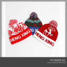 2016 Custom pom pom beanie hat, plain knit hat/cap with custom labels