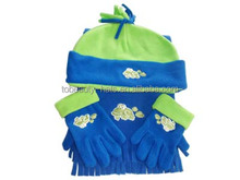 Polar fleece Kids cute Knitwear hat scarf and gloves set