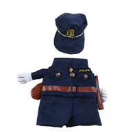 Policeman Costume for Cats and Small Dogs Pet Funny Cosplay Clothes for Halloween and Theme Party