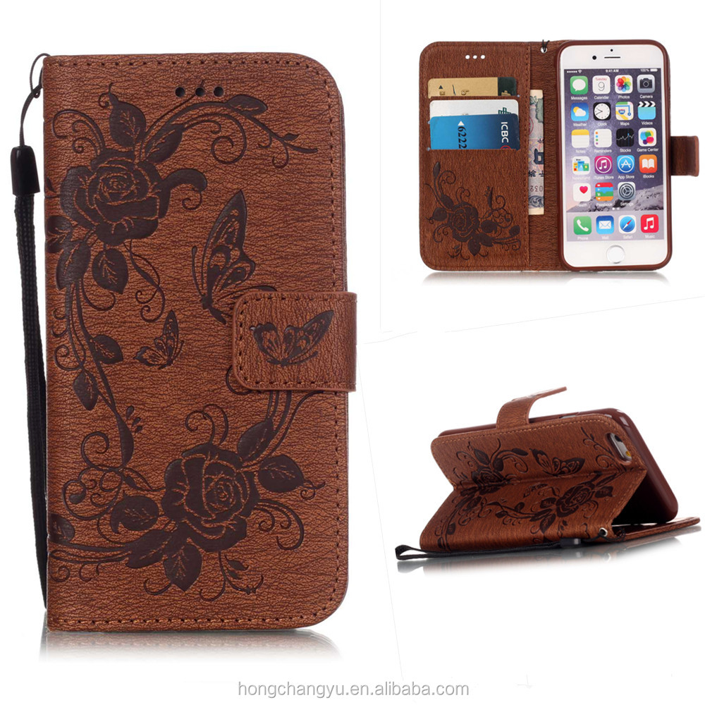 2016 New Arrival Flower Printing Luxury Flip Stand Wallet PU Leather Phone Case for Iphone 6 plus