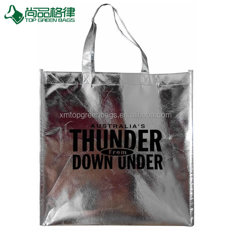 metallic finish silver laminated non-woven tote bag, nonwoven bag with silver lamination