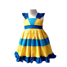 Most poplar boutique Party Girl Stripes Ruffle dress Elegant Baby Jumper skirt pictures of latest gowns designs