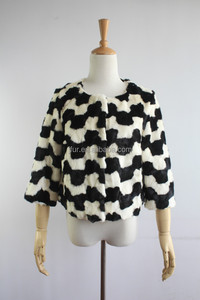 Cute Trend New Design Mink Fur Short Coat/Jacket Black And White Clever Collection