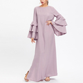 Import clothing from china exaggerate layered bell sleeve slit hijab evening dress purple dresses for women