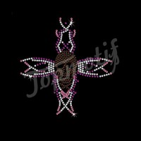 Sparkle Iron On Rhinestone Cross Transfer Fashion Hot Fix Rhinestone Motif