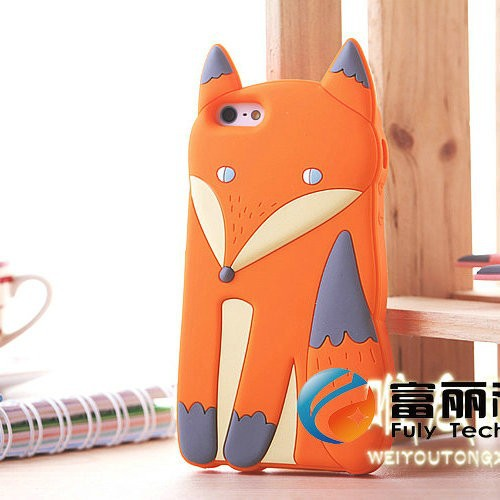 Factory Wholesale Lovely 3D Cute Silicone Cartoon Animal Fox Soft cover Case for iPhone 5 5S iphone5 iPhone 6s