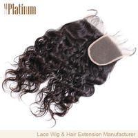 Alibaba 100% human brazilian hair free parting lace closure wholesale price water wave