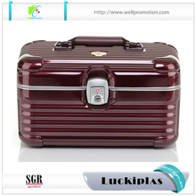Colorful combination lock hard side aluminum beauty cosmetic makeup kit case