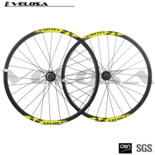 velosa Yellow MTB Bike 29ER Disc Brake Carbon Wheelset 25mm Depth 27mm Width Carbon Wheels Mountain Bike